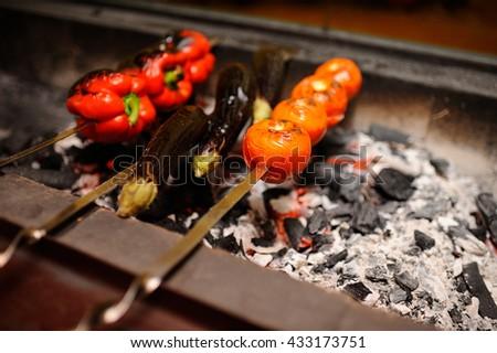 vegetables on the grill.vegetables on the grill. warm salad of vegetables on the grill - stock photo