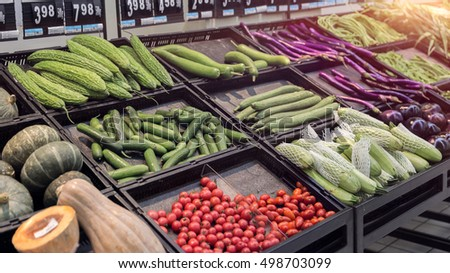 Vegetables on the shelves in shopping mall