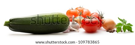 Vegetables on the white background - stock photo
