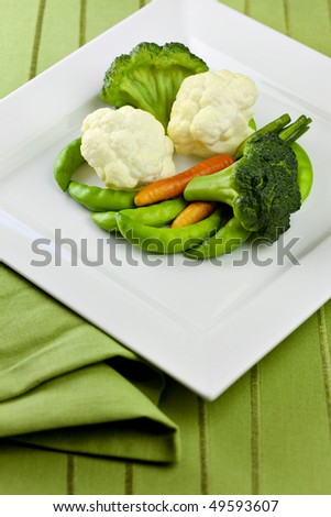 Vegetables On White Plate With Green Placemat and Napkin
