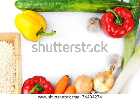 vegetables on white top view - stock photo