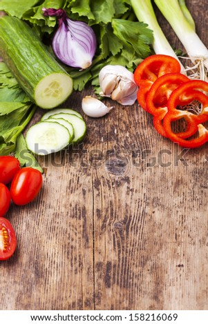 vegetables on wood  - stock photo