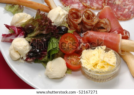 vegetables salad cheese salami