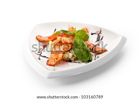 Vegetables Salad with Seafood and Basil Leaf - stock photo