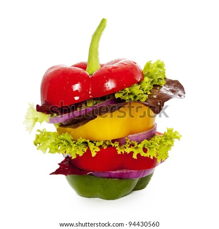 Vegetables sandwich. Isolated on White - stock photo