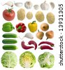 Vegetables set on the white background (isolated). - stock photo