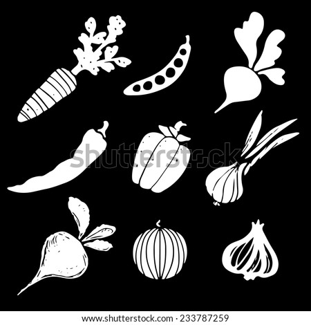 Vegetables silhouettes set, funny hand drawn icons isolated on a black background. Art logo design - stock photo