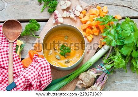 Vegetables soup - stock photo