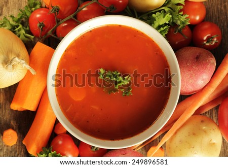 Vegetables soup surrounded by fresh vegetables on a wooden background - stock photo