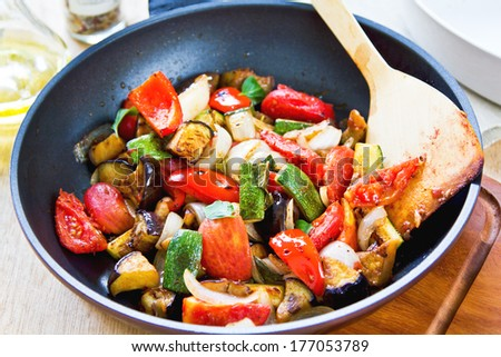 Vegetables stewed or Casserole also known as Ratatouille - stock photo