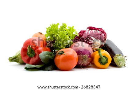 vegetables studio isolated over white