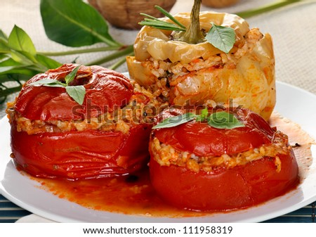 Vegetables stuffed with rice and herbs (yemistes). - stock photo