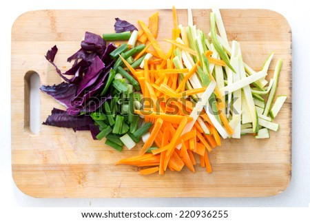Vegetables that were peeled and chopped to be cooked soon.  - stock photo