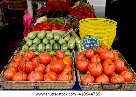 Vegetables. Vegetables at a market- tomatoes, courgette, pepper, aubergine. Vegetables colour. Colour vegetables. Vegetables sale. Vegetables.  Fresh vegetables. Healthy vegetables.  - stock photo