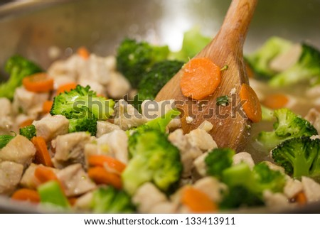 Vegetables with chicken meat - stock photo