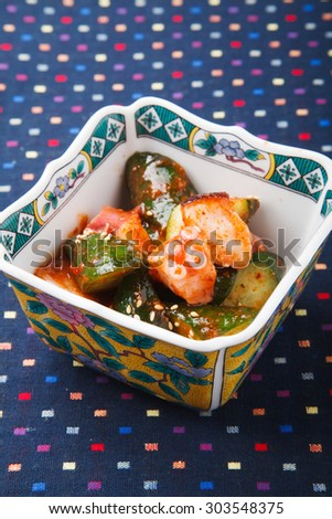 Vegetables with dressing of a cucumber and the kimchi - stock photo