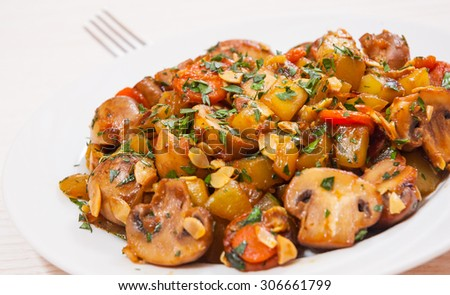 vegetables with mushrooms - stock photo