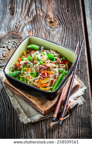 Vegetables with noodles - stock photo