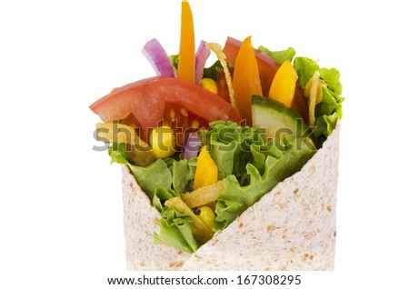 Vegetables wrap. Corn, lettuce and tomato,  isolated on white background.