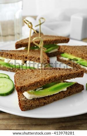 Vegetarian avocado sandwich with dark rye bread on a white plate - stock photo