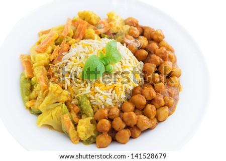 Vegetarian biryani rice or briyani rice, fresh cooked with steam, delicious indian food. - stock photo