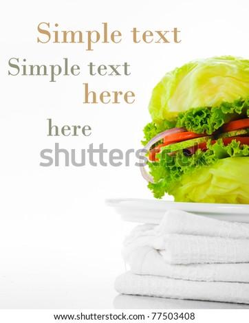 Vegetarian burger - cabbage, tomato, cucumber, onion, lettuce - stock photo