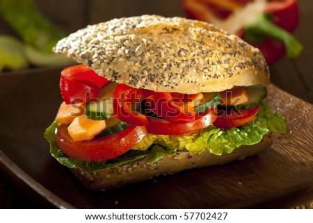 vegetarian burger with fresh ingredients - stock photo