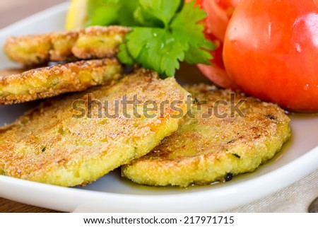 Vegetarian burgers with sauce and vegetable, selective focus - stock photo