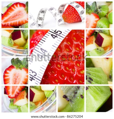 Vegetarian collage with fruit salat and measure tape - stock photo