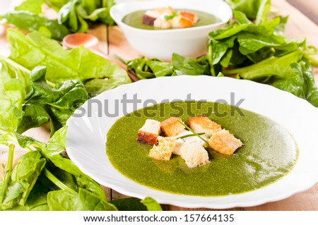 Vegetarian cream soup with spinach and dried crusts