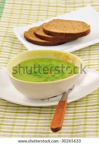 vegetarian creamy soup from a string bean - stock photo