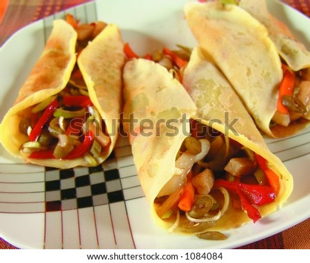 Vegetarian crepes - stock photo