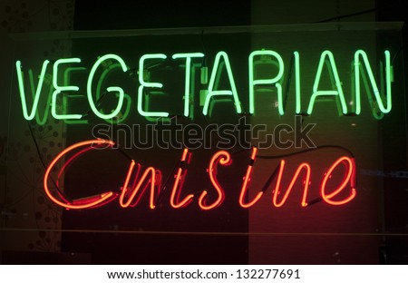 vegetarian cuisine neon sign