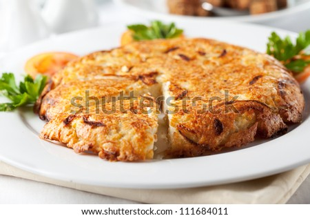 Vegetarian Food - Cereal Pie with Parsley and Tomato