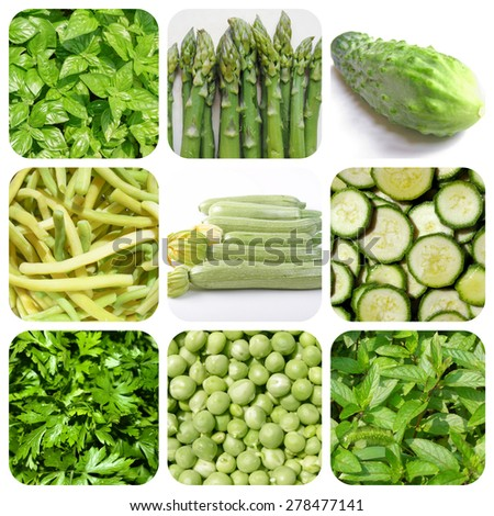 Vegetarian food collage: green vegetables and herbs including basil, asparagus, cucumber, green beans, courgettes, parsley, green peas and pepper mint - stock photo