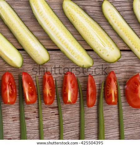 Vegetarian food. Fresh vegetables  on wooden gray background, flat position