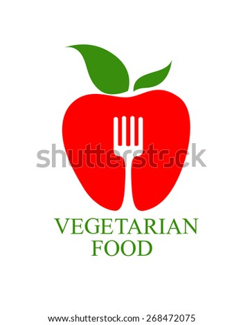 Vegetarian Food icon with a symbolic healthy ripe red apple with a fresh green leaf superimposed by a fork with text below - stock photo