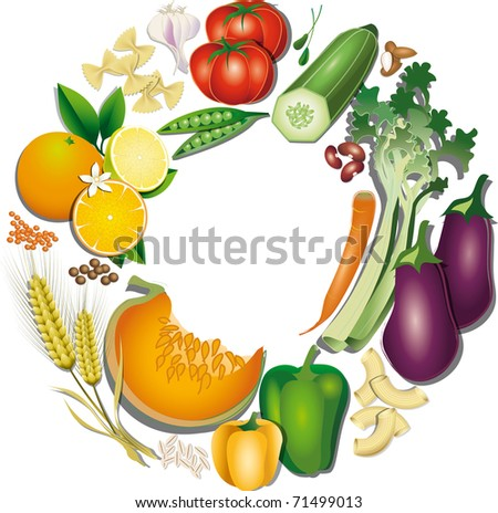 Vegetarian food prepared in a circle - stock photo