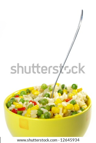 Vegetarian food. Risotto isolated on white background - stock photo