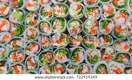 Vegetarian Fresh Spring salad Rolls for healthy.