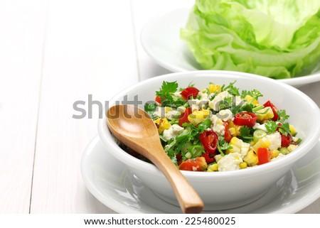 vegetarian lettuce wraps with tofu - stock photo