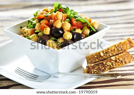 Vegetarian meal of chickpea or garbanzo beans salad - stock photo