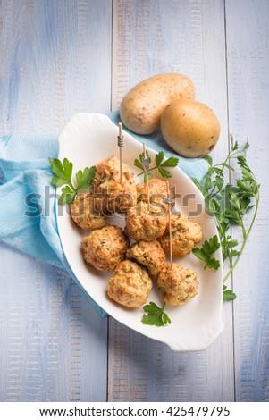 vegetarian meatballs with potatoes - stock photo