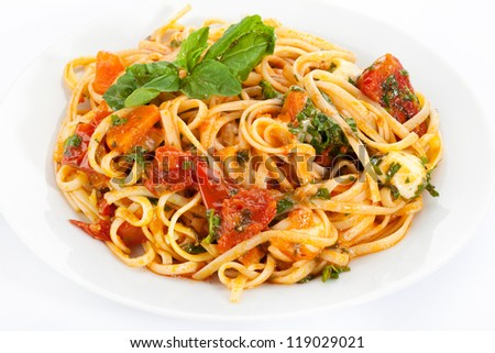 vegetarian pasta on a plate - stock photo