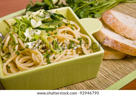 Vegetarian Pasta, with leek , garlic and chives sauce, on a bamboo mat