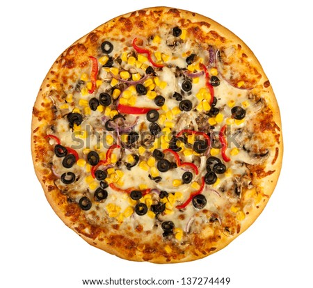 vegetarian pizza isolated on white - stock photo