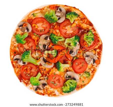 Vegetarian pizza on a white background