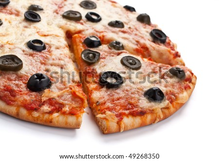 vegetarian pizza with black olives - stock photo