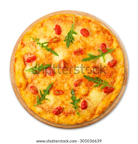 Vegetarian pizza with cherry tomatoes, mozzarella and fresh arugula - thin pastry crust at wooden round desk isolated at white background, above view - stock photo