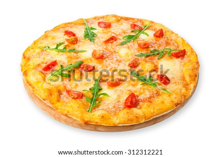 Vegetarian pizza with cherry tomatoes, mozzarella and fresh arugula - thin pastry crust at wooden round desk isolated at white background - stock photo